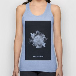 Amsterdam, The Netherlands Black and White Skyround / Skyline Watercolor Painting (Inverted Version) Unisex Tank Top