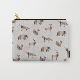 Folded Forest - Geometric Origami Animals Pattern Carry-All Pouch