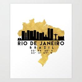 RIO DE JANEIRO BRAZIL SILHOUETTE SKYLINE MAP ART Art Print
