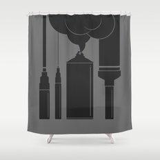 Art Supplies Grey Shower Curtain