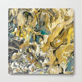 Marble Golden Planet Metal Print