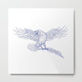 Raven Carrying Quill Drawing Metal Print