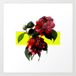 Vintage Blooms /Neon Block Art Print