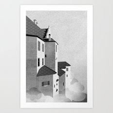Castle in the Sky | Black & White Art Print