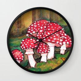 Mushrooms in the Woods Wall Clock