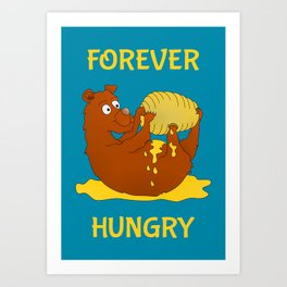 Hungry Bear Eating Honey Art Print