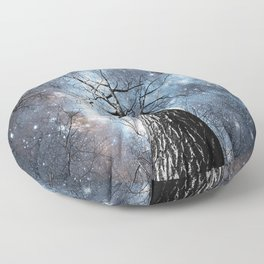 Wintry Trees Galaxy Skies Steel Blue Floor Pillow