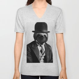 Sloth with Bowl Hat Unisex V-Neck