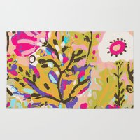 karen hallion Area & Throw Rugs featuring Bohemian Pink Abstract Flowers by Karen Fields by Karen Fields Design