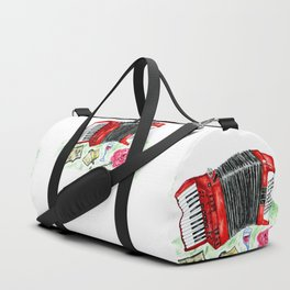 Retro red accordion Duffle Bag
