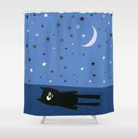 murakami Shower Curtains featuring Good Night Oscar by Jacek Muda