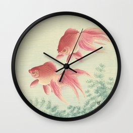 Goldfish Vintage Japanese Woodblock Print Wall Clock