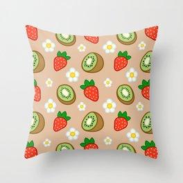 Strawberry Kiwi Smoothie Throw Pillow