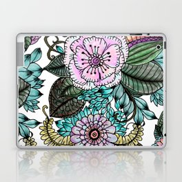 Hand painted pink teal lavender green watercolor floral Laptop & iPad Skin