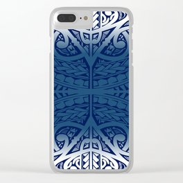 Monochromatic Polynesian Tribal design Clear iPhone Case