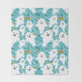 White cute fur seal and fish in water Throw Blanket