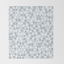 shades of ice gray triangles pattern Throw Blanket
