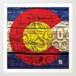 Colorado Flag Royal Stain Art Print