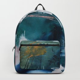 Exhilarated: a vibrant, abstract, mixed-media piece in greens and pinks by Alyssa Hamilton Art  Backpack