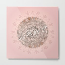 Rose Gold Blush Floral Mandala Metal Print
