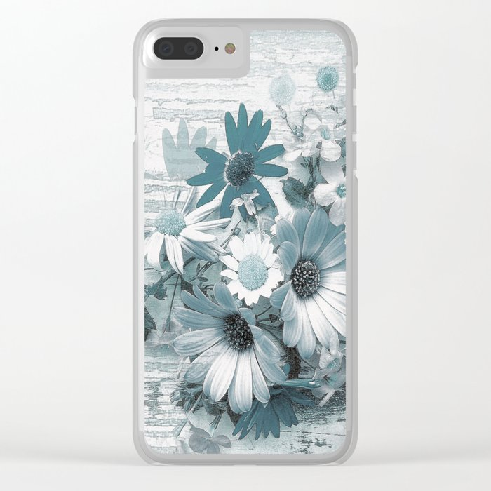 teal flowers on worn wood Clear iPhone Case