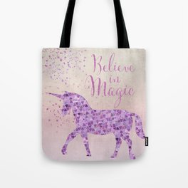 Pink and Purple Glamour Unicorn Believe in Magic Tote Bag