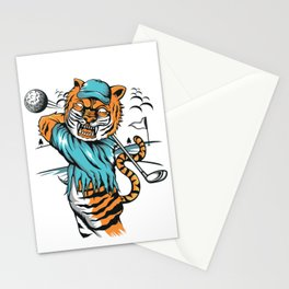 Tiger golfer WITH cap Stationery Cards