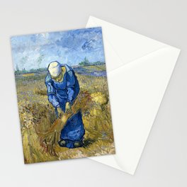 12,000pixel-500dpi - Vincent van Gogh - Peasant woman binding sheaves, after Millet Stationery Cards