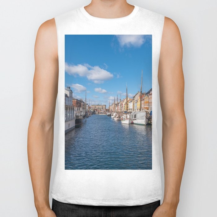 Nyhavn Canal under a blue sky with some clouds Biker Tank