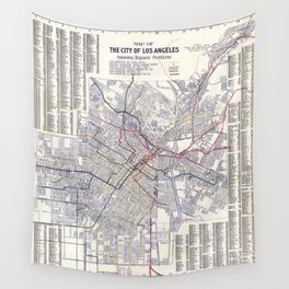 Los Angeles - Map of the railway systems - 1906 Wall Tapestry