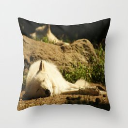 Sleeping white wolf in the summer sun Throw Pillow