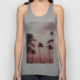 Tropical Palm Tree Pink Sunset Unisex Tank Top