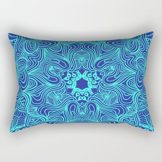 Blue on Blue, abstract pattern Rectangular Pillow
