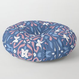 Blue and Rose Pink Mandala Portuguese Hand Painted Tile - Symmetry Geometric Texture - Abstract Royal Floor Pillow