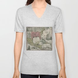 Vintage North America and Caribbean Map (1720) Unisex V-Neck