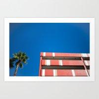 Blue Sky -Red Lines Art Print