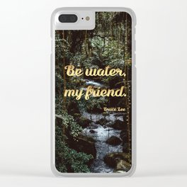 Be water, my friend (gold) Clear iPhone Case