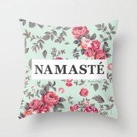 namaste Throw Pillows featuring Namaste by Rambutan Designs