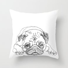 Lazy Pugturday Throw Pillow