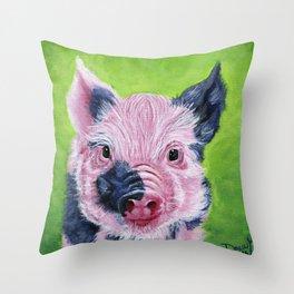 Cute Pig Art - Vegan Art Throw Pillow