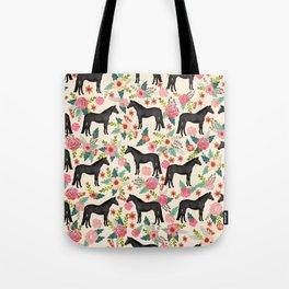 Black Horse Floral - cream, black beauty, horse, arabian horse, florals, floral, horse blanket, Tote Bag