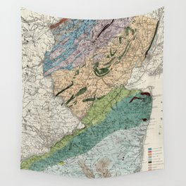 Vintage Geological Map of New Jersey (1839) Wall Tapestry