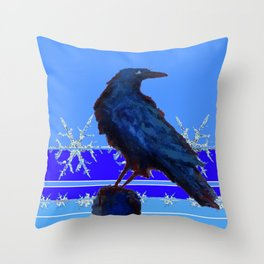 BLUE CROW WINTER SNOWFLAKE ART Throw Pillow