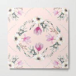 Floral Square Rosé Metal Print