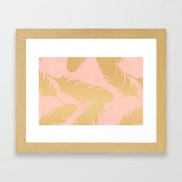Boho Feather Pink Gold Framed Art Print