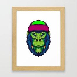 Gorilla Monkey Hipster Cap Cool Gift Framed Art Print