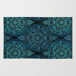 Black & Aqua Protea Doodle Pattern Rug