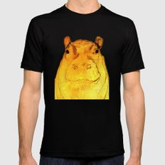 Golden Hippo Mens Fitted Tee LARGE Black