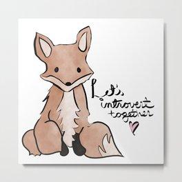 Introvert Quote Cute Watercolor Fox Art Metal Print