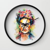 bright Wall Clocks featuring Frida Kahlo by Tracie Andrews